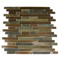 GEOLOGICAL TAO MULTICOLOR SLATE &amp; BRONZE GLASS TILES 1/2xRANDOM_MAIN
