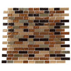 "GOLDEN ROAD BLEND BRICKS 1/2"" X 2"" MARBLE & GLASS MOSAICS BRICKS_MAIN"
