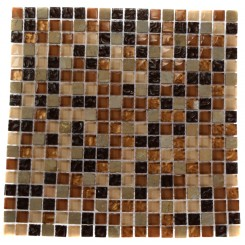 "GOLDEN ROAD BLEND SQUARES 1/2"" X 1/2"" MARBLE & GLASS MOSAICS SQUARES_MAIN"