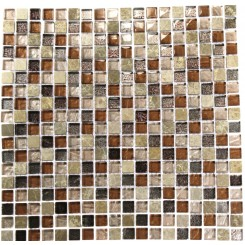 "SQUARES LEATHER BOOT BROWN BLEND 1/2 X 1/2"" MARBLE & GLASS TILE SQUARES""_MAIN"
