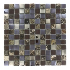 Fusion Shagbark 1x1 Marble &amp; Glass Tiles