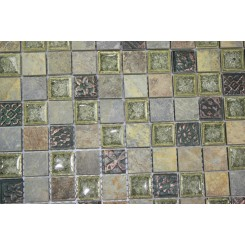sample-ROMAN COLLECTION FOREST TRAIL W/ DECO 1X1 GLASS TILE SAMPLE_MAIN