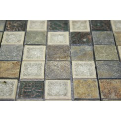sample-ROMAN COLLECTION EMPERIAL SLATE W/ DECO 1x1 1/4 SHEET GLASS TILES SAMPLE_MAIN