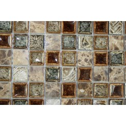 sample-ROMAN COLLECTION BURNT RUSSET 1x1 1/4 SHEET GLASS TILES SAMPLE_MAIN