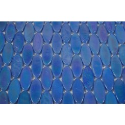 sample-IRIDESCENT SPHERE BLUE OVALS 1/4 SHEET GLASS TILES SAMPLE_MAIN