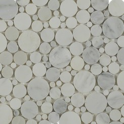 Kinetic Asian Statuary Circles Honed Finish Marble Tiles