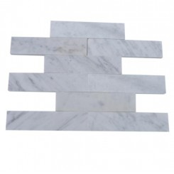Brushed Stone White Carrera 2x8 Marble Tile