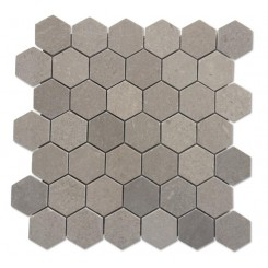 "Lady Gray  2"" Hexagon Honed Marble Tile"