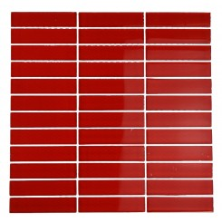 LOFT CHERRY RED POLISHED 1x4 GLASS TILE_MAIN