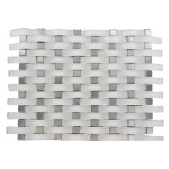 LOFT CURVE SUPER WHITE 2 1/2X3/4 W/ 3/4X/3/4 STAINLESS STEEL DOT BRICK PATTERN MARBLE & GLASS TILE_MAIN