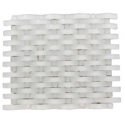 LOFT CURVE SUPER WHITE 2 1/2X3/4 W/ 3/4X/3/4 SUPER WHITE DOT BRICK PATTERN MARBLE &amp; GLASS TILE_3