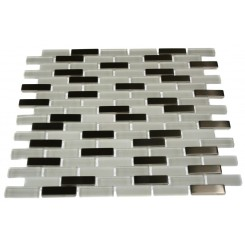 LOFT ICE CAVE 1/2X2 BRICK PATTERN MARBLE &amp; GLASS TILE_MAIN