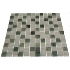 LOFT MING WHITE 1X1 MARBLE & GLASS TILE_MAIN