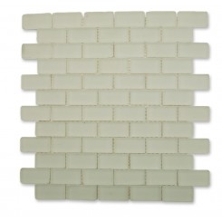 Loft Ice White Frosted 1 x 2 Tumbled Edge Glass Tiles