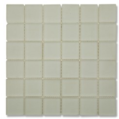 Loft Ice White Frosted 2x2 Tumbled Edge Glass Tiles