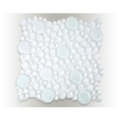 Loft Super White Circles Glass Tiles