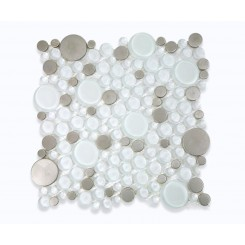 Loft Ice Cave Circles Glass &amp; Metal Tiles