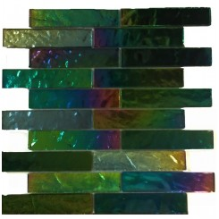 Iridescent Mardi Gras Bricks Glass Tile
