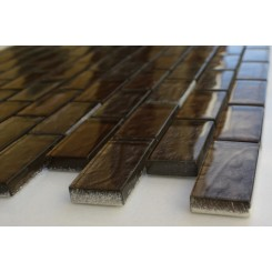 Sample-chocolate Blend 1x2 1/4 Sheet Glass Tiles Sample