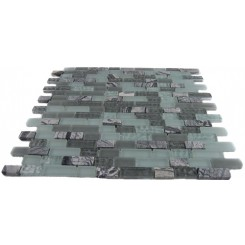 MISTED GREEN BLEND BRICK PATTERN 1/2X2 MARBLE &amp; GLASS TILE BRICKS_MAIN