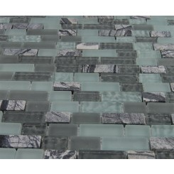 sample-MISTED GREEN BLEND BRICK PATTERN 1/2X2 1/4 SHEET TILES SAMPLE BRICKS_MAIN