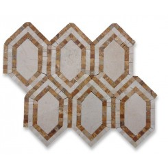 Infinity Crema Marfil Hexagon With Golden Travetine and Crema Marfil Marble Tile
