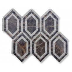 Infinity Dark Emperador Hexagon With Crema Marfil Marble Tile