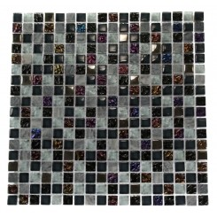 NIMBUS GRAY BLEND SQUARES 1/2X1/2 MARBLE &amp; GLASS TILE SQUARES_MAIN