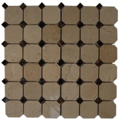 OCTAGON CREAMA MORFILL 2X2 WITH DARK EMPERIDOR DOT 1/2X1/2 MARBLE  TILE_MAIN