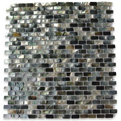 Deep Sea Black Mini Brick Pattern Tile