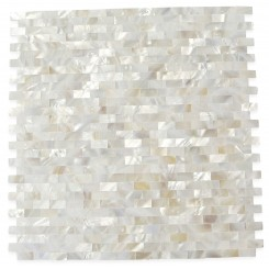 Serene White Bricks Groutless Pearl Shell Tile
