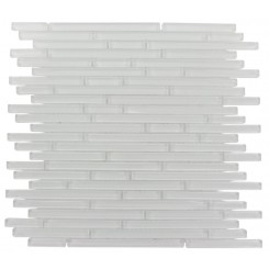 sample-TORPEDO PATTERN 1/4 X RANDOM SUPER WHITE GLASS MOSAIC TILES 1/4 SHEET SAMPLE_MAIN