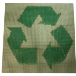 RECYCLED GREEN ARROWS 3' X 3' GLASS MOSAIC MEDALLION GLASS TILE_MAIN
