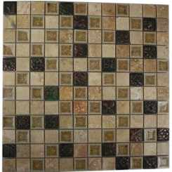 ROMAN COLLECTION DESERT TAN W/ DECO 1X1 GLASS TILE_MAIN