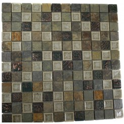 ROMAN COLLECTION EMPERIAL SLATE W/ DECO 1X1 GLASS TILE_MAIN