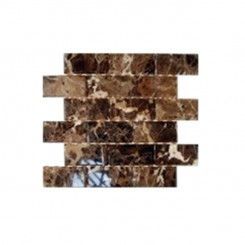 sample-DARK EMPERIDOR 2X4 BRICK BEVELED TILES 1/4 SHEET SAMPLE_MAIN