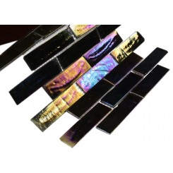 sample-IRIDESCENT INKWELL1x4 BRICK GLASS TILES 1/4 SHEET SAMPLE_MAIN