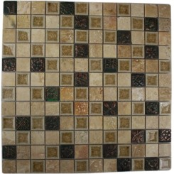 sample-ROMAN COLLECTION DESERT TAN W/ DECO 1x1 1/4 SHEET GLASS TILES SAMPLE_MAIN
