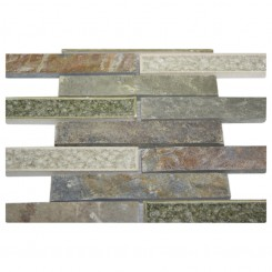 sample-ROMAN COLLECTION EMPERIAL SLATE 1X6 1/4 SHEET GLASS TILES SAMPLE_MAIN