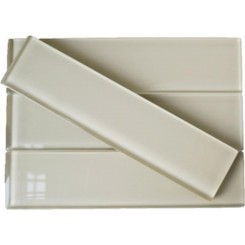 Sample-Loft Sand Beach Polished 2x8 Glass Tile Sample