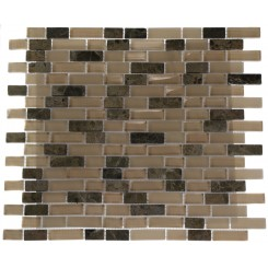 "SANDSCAPE BLEND BRICK PATTERN 1/2 X 2""  MARBLE & GLASS TILE BRICKS""_MAIN"