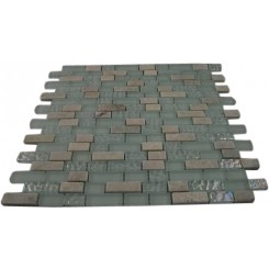 SEASPRAY BLEND BRICK PATTERN 1/2 X 2&quot; MARBLE &amp; GLASS TILES BRICK&quot;_MAIN