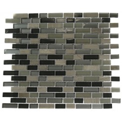 SILVER FOG BLEND BRICKS 1/2 X 2&quot; MARBLE &amp; GLASS TILE BRICK PATTERN&quot;_MAIN