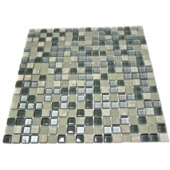 SILVER FOG BLEND SQUARES 1/2&quot; X 1/2&quot; MARBLE &amp; GLASS TILE SQUARES_MAIN
