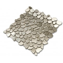 Cobblestone Brushed Silver  Metal Tile Sample
