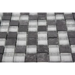 Sample- Geological Squares Black Slate &Silver Glass Tiles Sample