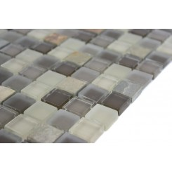 Sample- Geological Squares Multicolor Slate & Khaki Blend Glass Tiles Sample