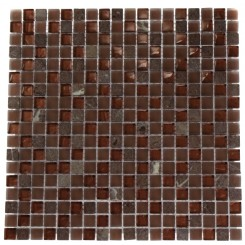 SQUARES COPPER CLAY BLEND 1/2X1/2 MARBLE &amp; GLASS TILE_MAIN