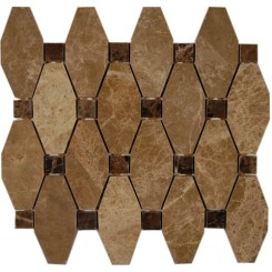 STELLA PATTERN HEXAGON LIGHT EMPERIDOR WITH DARK EMPERIDOR DOT MARBLE TILE_MAIN