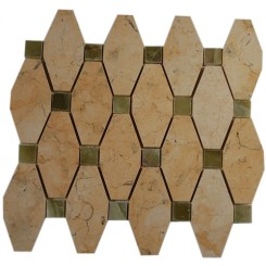 STELLA PATTERN JERUSALEM GOLD WITH DARK GREEN ONYX DOT 1/2 X 1/2 MARBLE TILE_MAIN